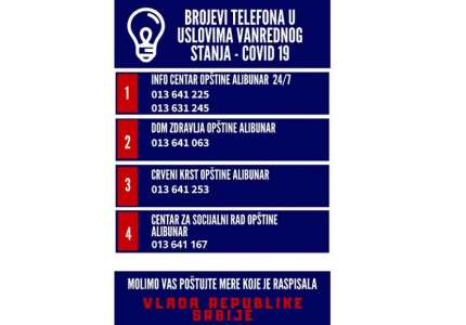 ALIBUNAR: Brojevi telefona u uslovima vanrednog stanja - COVID 19